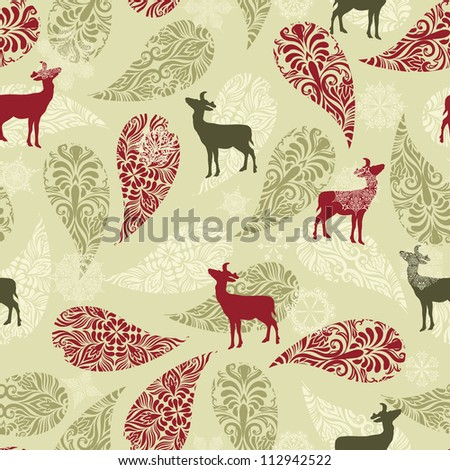 Vector winter seamless pattern with christmas decoration, deers, and snowflakes, fully editable eps 8 file with clipping masks - stock vector