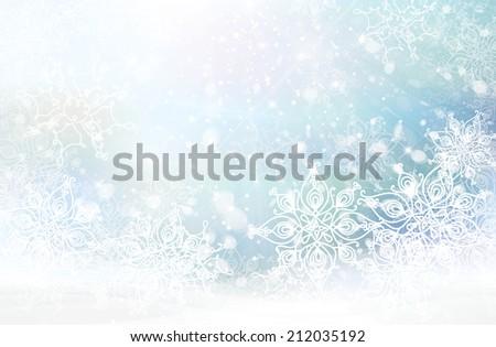 Vector winter snowflakes background. - stock vector