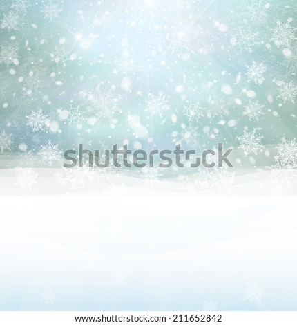 Vector winter snowy background. - stock vector