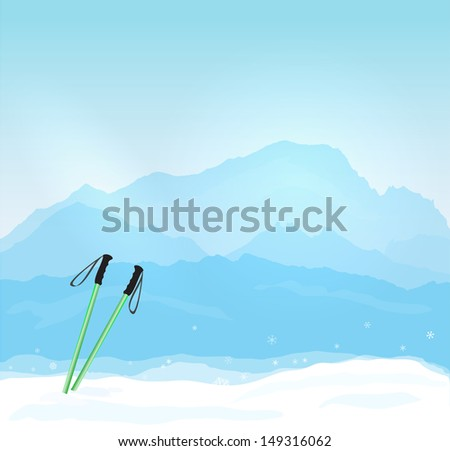 Vector Winter sports concept with Mont Blanc silhouette - stock vector