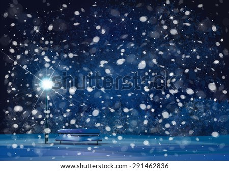 Vector winter wonderland night background. - stock vector
