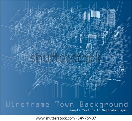 vector wireframe drawing of the town space - stock vector