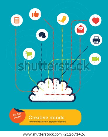 Vector wireless brain. Vector illustration Eps10 file. Global colors. Text and Texture in separate layers. - stock vector