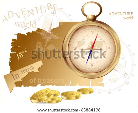 vector with gold money, a compass and the old paper - stock vector