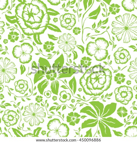 Vector with hand made seamless flower pattern  - stock vector