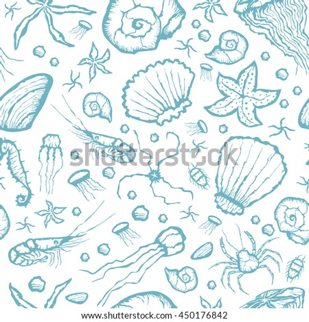 Vector with hand made seamless sea creatures pattern  - stock vector