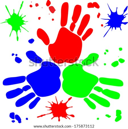 Vector with RGB hands prints with drops for different uses  - stock vector