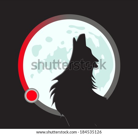 vector wolf howls at the moon. load indicator. flat style - stock vector