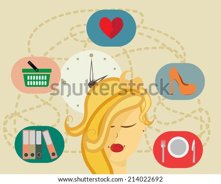 Vector woman character with flat icons. - stock vector