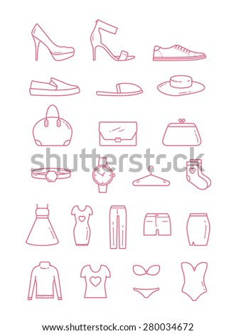 Vector Woman Fashion Clothing icon set - stock vector