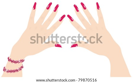 vector woman hands with red fingernails and ruby bracelet