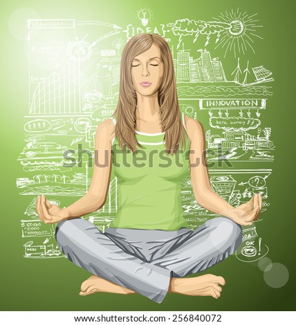 Vector woman meditating in lotus pose thinking about ecology - stock vector