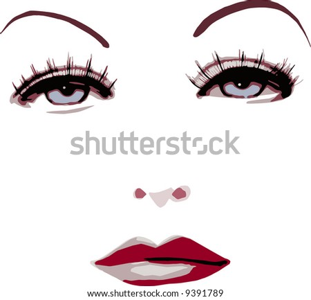 vector - woman portrait - stock vector
