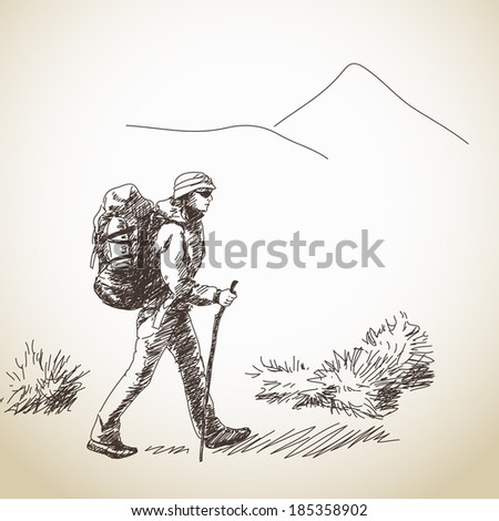 Vector woman trekking with backpack Hand drawn - stock vector