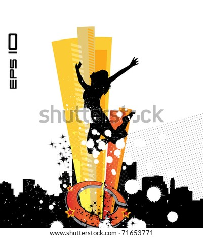 Vector woman with city in background - stock vector