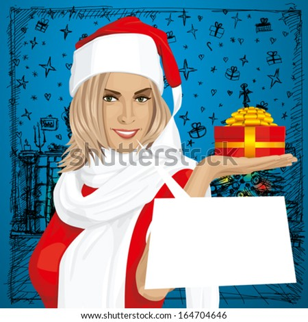 Vector Woman with gift in her hand waiting for Christmas - stock vector