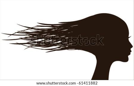 vector woman with long hair - stock vector