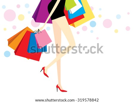Vector woman with shopping bags on white background
