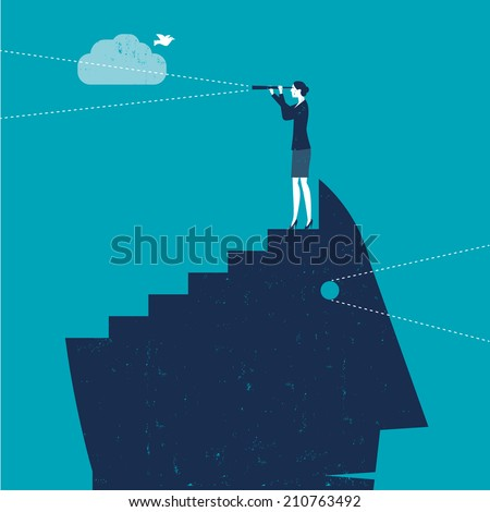 Vector Woman with Telescope on top of Head - stock vector