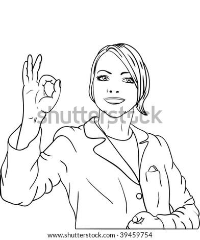 vector - women gesture OK signal - stock vector