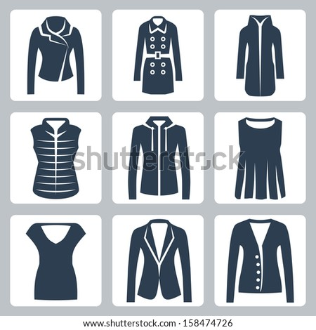 Vector women's clothes icons set: jacket, overcoat, down-padded coat, vest, sweatshirt, blouse, top, suit jacket, jumper - stock vector