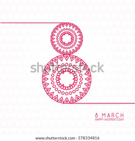 Vector women's day linear modern and creative  background. Elegant greeting card design for International Women's Day celebration.