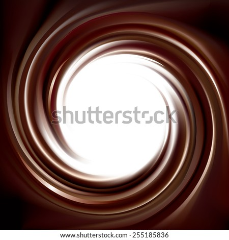 Vector wonderful mixed deep umber curvy backdrop. Beautiful volute fluid choco creamy surface with space for text in white center - stock vector