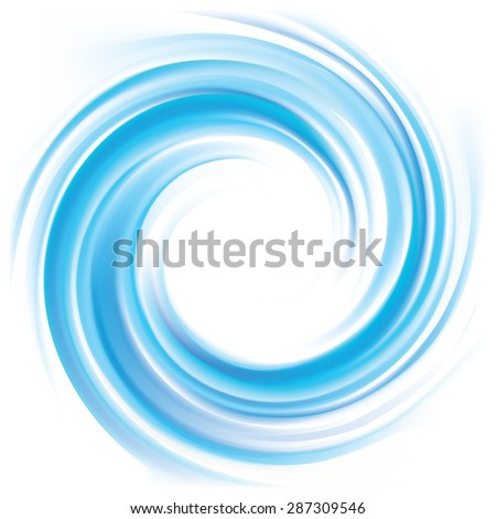 Vector wonderful swirling backdrop with space for text. Beautiful volute fluid surface vivid turquoise color with glowing white center in middle of funnel  - stock vector
