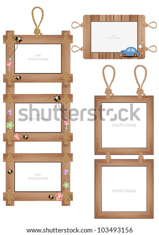 vector wood frame - stock vector