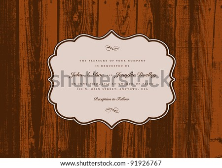 Vector Wood Frame and Background. Easy to edit. Perfect for invitations or announcements. - stock vector