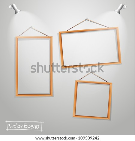 Vector Wood frames on wall - stock vector