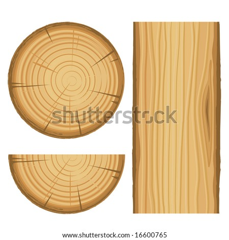 vector wood material parts isolated on white background - stock vector
