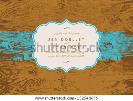Vector Wood Ornate Frame. Easy to edit. Perfect for invitations or announcements. - stock vector