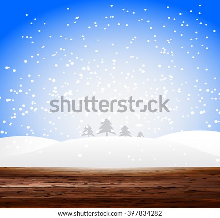 Vector wood plank background and snow