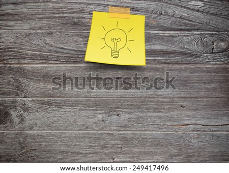 Vector wood plank background, With yellow stick note - stock vector