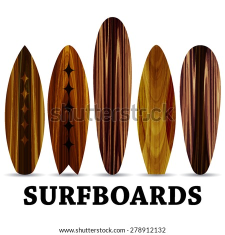 Vector wood surf boards. Summer Surfing. Isolated realistic surfboard a set of icons  - stock vector