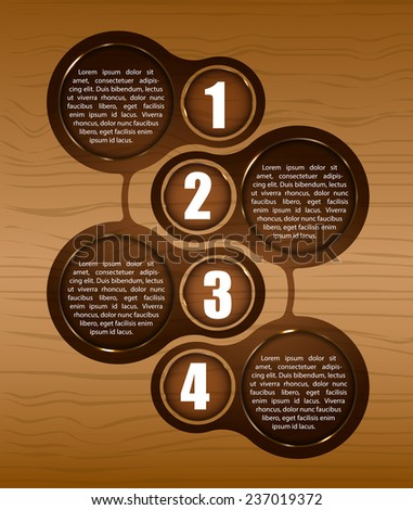Vector wooden background with four steps and place for text. Can be used for a poster, leaflet or brochure. - stock vector
