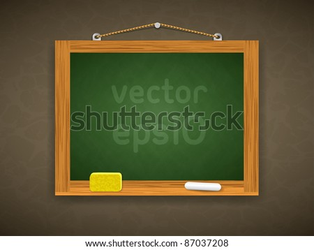 Vector wooden blackboard with a sponge and chalk - stock vector