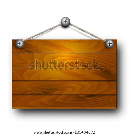 Vector wooden board hanging. - stock vector