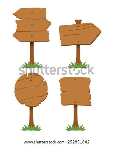 Vector wooden board set - stock vector