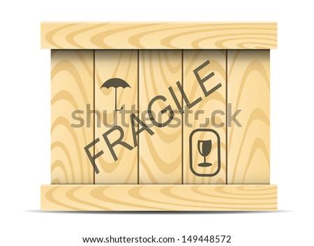 Vector wooden box, vector wooden container, merchandise vector wooden box, wooden plank container, wood plank shipping container, wood plank shipping box - stock vector