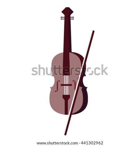 Vector wooden brown violin and bow with. Musical instrument. Philharmonic classical violin isolated on white background - stock vector