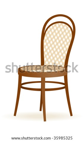 Vector wooden chair isolated on the white background - stock vector