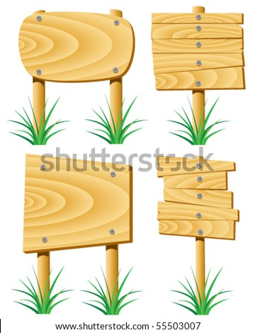 vector wooden elements and grass