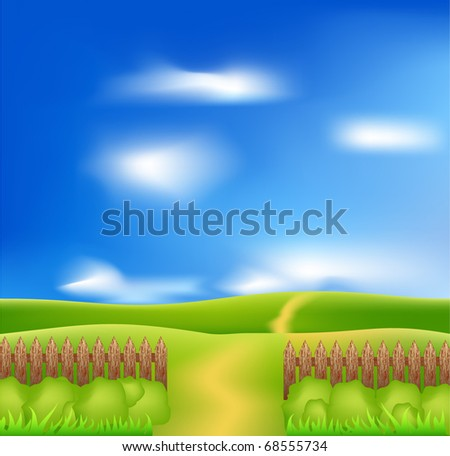 Vector wooden fence,green field and blue sky - stock vector