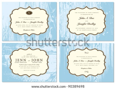 Vector Wooden Frame Set. Easy to edit. Perfect for invitations or announcements. - stock vector