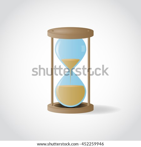 Vector wooden hourglass with sand inside on white background.
