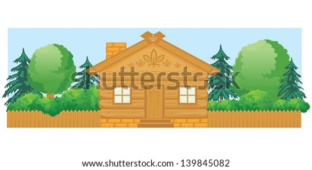 Vector wooden house with a fence and different trees in summer - stock vector
