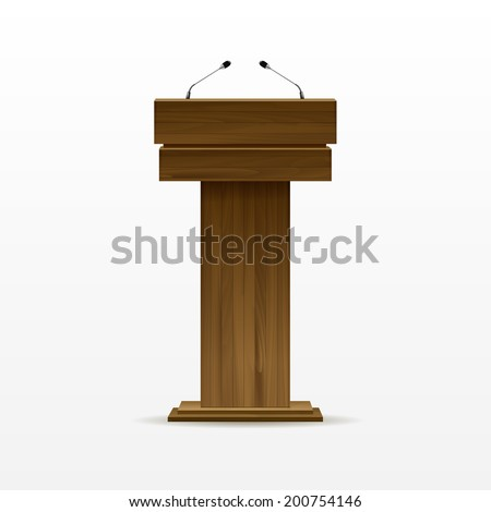 Vector Wooden Podium Tribune Rostrum Stand with Microphones Isolated on White Background - stock vector