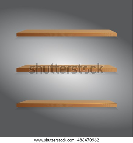 Vector wooden shelf.